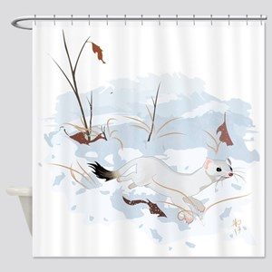 Ermine in the Snow Shower Curtain