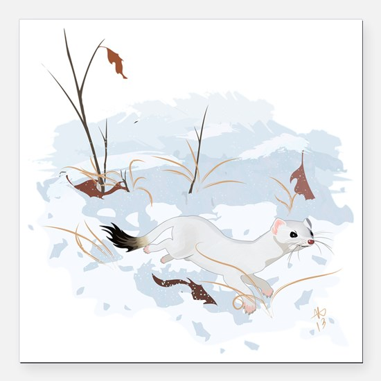 """Ermine in the Snow Square Car Magnet 3"""" x 3"""""""