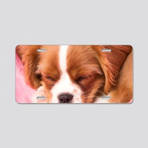 sweet sleeping puppy Aluminum License Plate