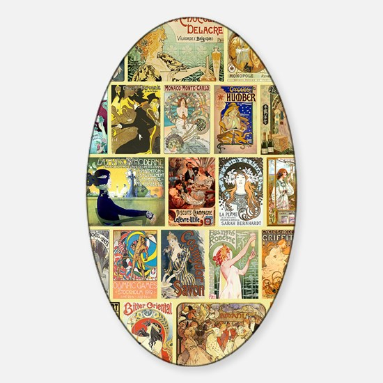 Vintage Art Nouveau Advertisements Sticker (Oval)