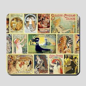 Art Nouveau Advertisements Collage Mousepad