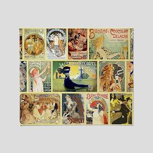 Art Nouveau Advertisements Collage Throw Blanket