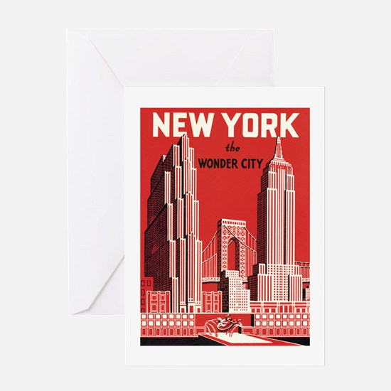 New york the wonder city red Greeting Card