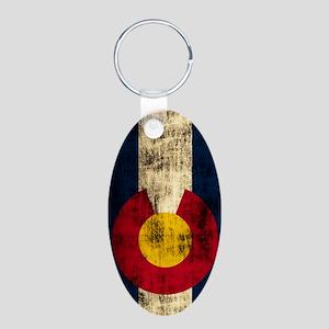Colorado Flag Grunge Aluminum Oval Keychain