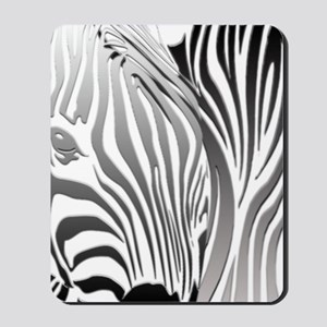 Zebra Silver and Black Mousepad