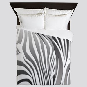 Zebra Silver and Black Queen Duvet