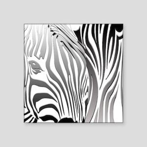 """Zebra Silver and Black Square Sticker 3"""" x 3"""""""
