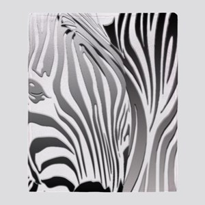 Zebra Silver and Black Throw Blanket