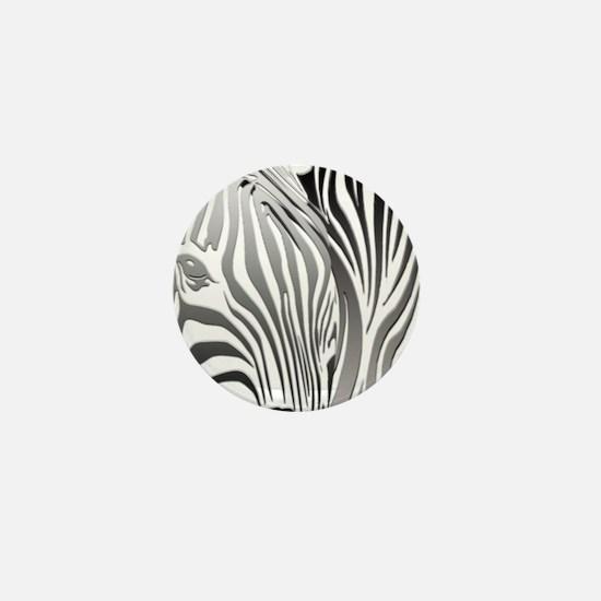 Zebra Silver and Black Mini Button