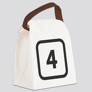 number 4 four  Canvas Lunch Bag