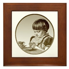 Child Saying Grace Framed Tile