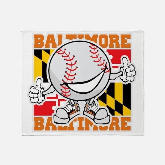 Baseball Dude Baltimore Throw Blanket