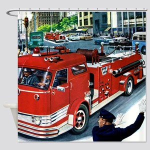 FIRETRUCK Shower Curtain