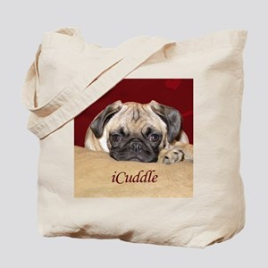 Adorable iCuddle Pug Puppy Tote Bag