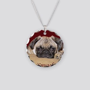 Adorable iSnuggle Pug Puppy Necklace Circle Charm
