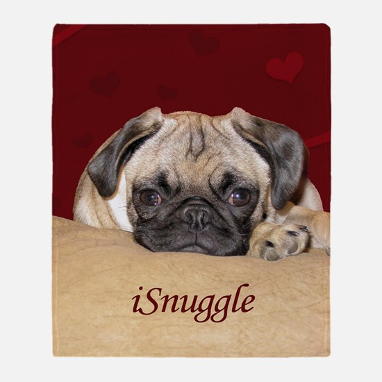 Adorable iSnuggle Pug Puppy Throw Blanket