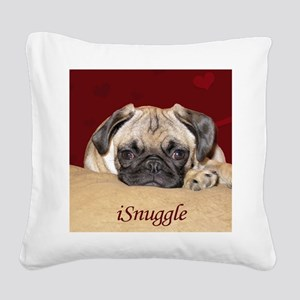 Adorable iSnuggle Pug Puppy Square Canvas Pillow