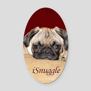 Adorable iSnuggle Pug Puppy Oval Car Magnet