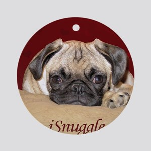 Adorable iSnuggle Pug Puppy Round Ornament
