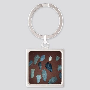 Collection of Indian Arrowheads Square Keychain