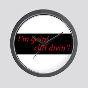 Im Goin Cliff Divin! Wall Clock