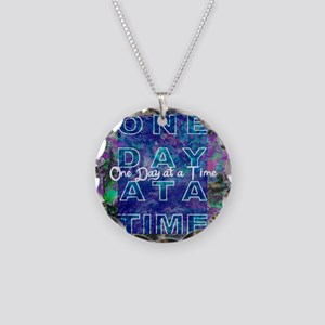 One Day at a Time Art Necklace Circle Charm