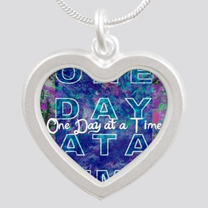 One Day at a Time Art Silver Heart Necklace
