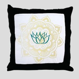 lotus mandala Throw Pillow