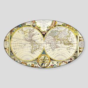 World Map 1755 Sticker (Oval)