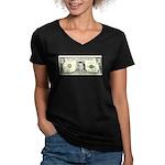 $3 Bill Women's V-Neck Dark T-Shirt