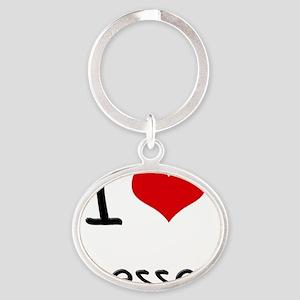 I Love Dresses Oval Keychain