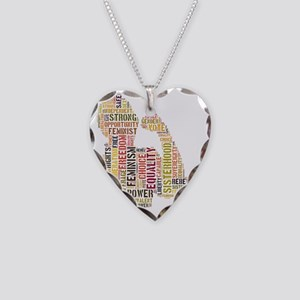 Feminism equals Strength Necklace Heart Charm