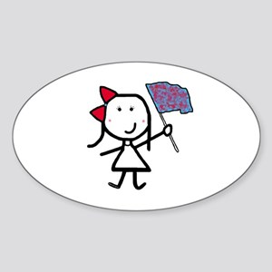 Girl & Color Guard Oval Sticker