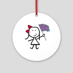 Girl & Color Guard Ornament (Round)