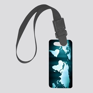 Glowing World Map Small Luggage Tag