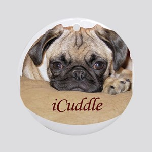 Adorable iCuddle Pug Puppy Round Ornament