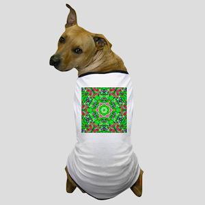 Pretty Flowers Green Dog T-Shirt