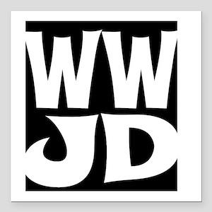 "W W J D Square Car Magnet 3"" x 3"""