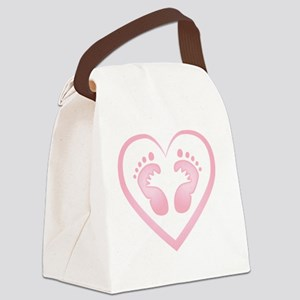 Baby Girl Footprints Canvas Lunch Bag