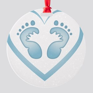 Baby Boy Footprints Round Ornament