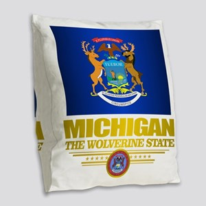 Michigan Pride Burlap Throw Pillow