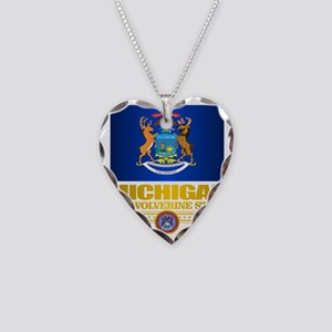 Michigan Pride Necklace Heart Charm