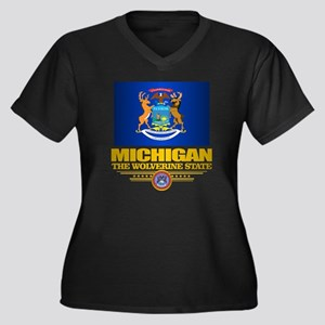 Michigan Pri Women's Plus Size Dark V-Neck T-Shirt