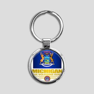 Michigan Pride Round Keychain