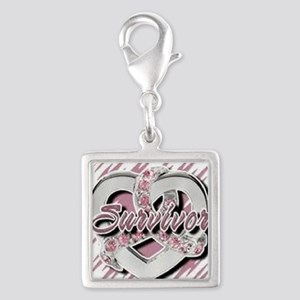 Survivor in Heart Silver Square Charm