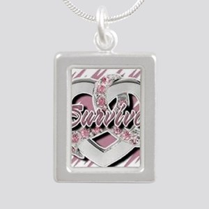 Survivor in Heart Silver Portrait Necklace