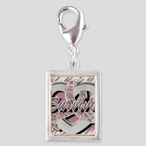 Survivor in Heart Silver Portrait Charm