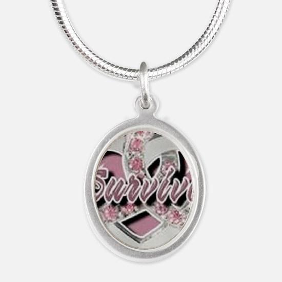 Survivor in Heart Silver Oval Necklace