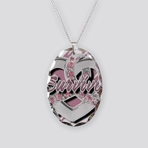 Survivor in Heart Necklace Oval Charm