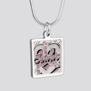 Survivor in Heart Silver Square Necklace